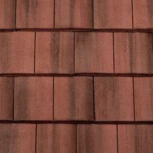 REDLAND ROOFING TILE DuoPlain, 38 Flame Red (Coated), Smooth Finish, Concrete
