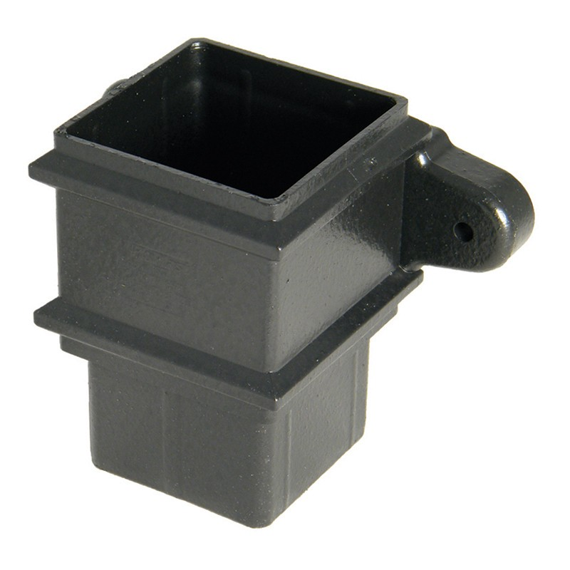 FLOPLAST Guttering 65mm Square Cast Iron Style - Pipe Sockets